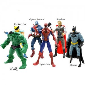 ZESTAW 6 FIGUREK BATMAN SPIDERMAN IRON MAN HULK THOR KAPITAN AMERYKA